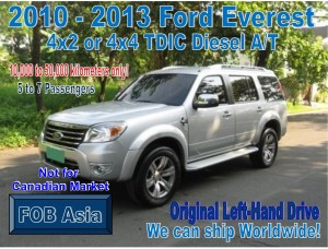 2010-2013 Ford Everest 4×2 or 4×4 TDIC Diesel A/T 10km-50km